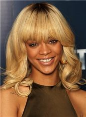 Glitter Medium Blonde Female Rihanna Wavy Celebrity Hairstyle 14 Inch