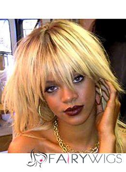 Concise Medium Blonde Female Rihanna Straight Celebrity Hairstyle 18 Inch