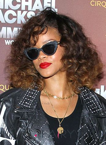 Stunning Short Brown Female Rihanna Wavy Celebrity Hairstyle 12 Inch