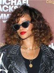Stunning Short Brown Female Rihanna Wavy Celebrity Hairstyle 12 Inch