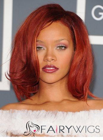 Chic Medium Red Female Rihanna Wavy Celebrity Hairstyle 14 Inch