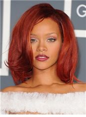 Chic Medium Red Female Rihanna Wavy Celebrity Hairstyle 14 Inch