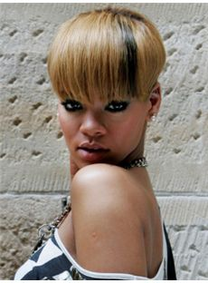 Classic Short Blonde Female Rihanna Straight Celebrity Hairstyle 6 Inch