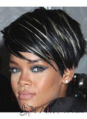 Adjustable Short Black Female Rihanna Straight Celebrity Hairstyle 8 Inch