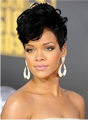 Vogue Wig Short Black Female Rihanna Wavy Celebrity Hairstyle 8 Inch