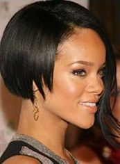 Wonderful Short Black Female Rihanna Straight Celebrity Hairstyle 10 Inch