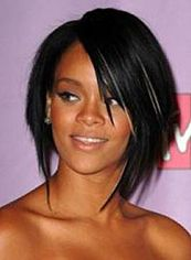 Best Short Black Female Rihanna Straight Celebrity Hairstyle 12 Inch