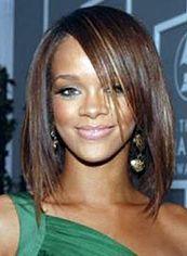Simple Medium Brown Female Rihanna Straight Celebrity Hairstyle 14