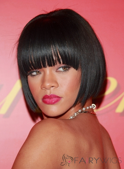 Custom Short Black Female Rihanna Straight Celebrity Hairstyle 10 Inch
