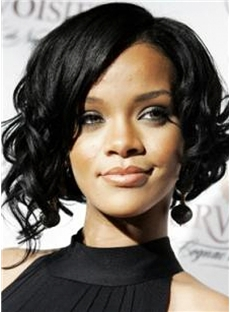 European Style Short Black Female Rihanna Wavy Celebrity Hairstyle 12 Inch