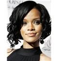 European Style Short Black Female Rihanna Wavy Celebrity Hairstyle 12 Inch