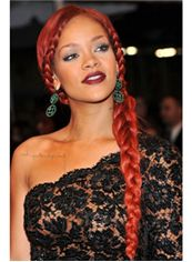Lastest Trend Long Red Female Rihanna Wavy Celebrity Hairstyle 24 Inch