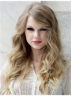 Fashion Long Blonde Female Taylor Swift Wavy Celebrity Hairstyle 20 Inch