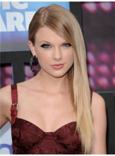 Super Smooth Long Blonde Female Taylor Swift Straight Celebrity Hairstyle 20 Inch