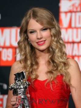 Modern Long Blonde Female Taylor Swift Wavy Celebrity Hairstyle 20 Inch