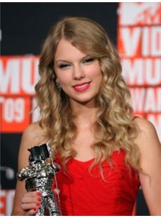 Modern Long Blonde Female Taylor Swift Wavy Celebrity Hairstyle 20 Inch