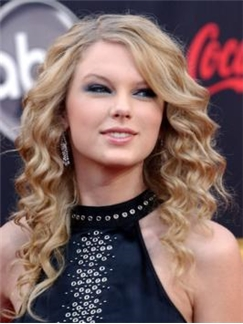 Marvelous Medium Blonde Female Taylor Swift Wavy Celebrity Hairstyle 16 Inch