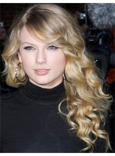 Capless Medium Blonde Female Taylor Swift Wavy Celebrity Hairstyle 18 Inch