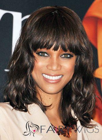 Wonderful Medium Sepia Female Tyra Wavy Celebrity Hairstyle 14 Inch