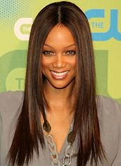 European Style Long Brown Female Tyra Straight Celebrity Hairstyle 20 Inch