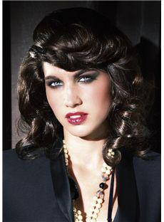 100% Human Hair Black Medium Wigs 14 Inch Capless Wavy