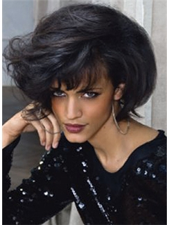 Human Hair Black Short Wigs Capless Wavy