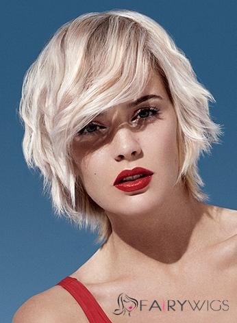 Human Hair Blonde Wavy Capless 10 Inch Short Wigs
