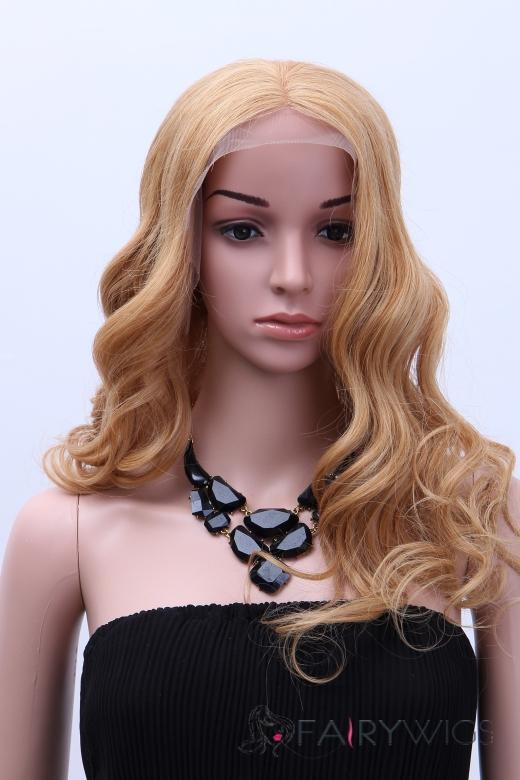 Virgin Brazilian Hair Blonde Lace Front Wavy Long Wigs 20 Inch