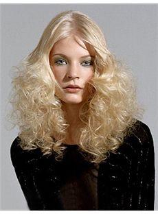 100% Human Hair Blonde Full Lace 16 Inch Medium Wavy Wigs