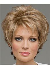 Human Hair Blonde Capless Wavy Short Wigs 8 Inch