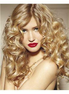 100% Human Hair Blonde Medium Wigs 18 Inch Full Lace Wavy