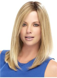 Human Hair Blonde Medium Wigs 14 Inch Lace Front Straight