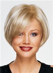 100% Human Hair Blonde Short Straight Wigs 8 Inch Full Lace