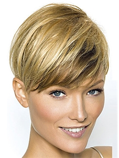 100% Human Hair Blonde Short Straight 8 Inch Full Lace Wigs