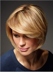100% Human Hair Blonde Short Wavy Wigs 12 Inch Full Lace