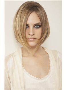 100% Human Hair Blonde Medium Wigs 14 Inch Full Lace Straight