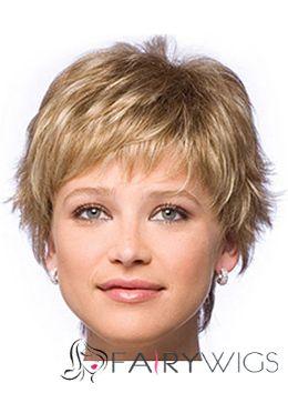 Human Hair Blonde Short Wigs 8 Inch Capless Wavy
