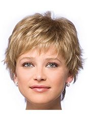 Human Hair Blonde Short Wigs 8 Inch Capless Wavy