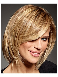 Human Hair Blonde Short Wigs Capless Straight