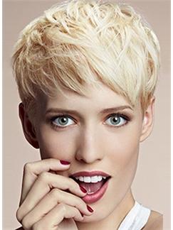 Virgin Brazilian Hair Blonde Straight Capless Short Wigs 6 Inch