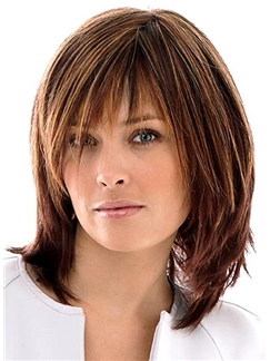 Human Hair Brown Capless Straight Short Wigs 12 Inch