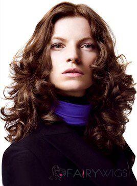 100% Human Hair Brown Wavy Full Lace Medium Wigs 16 Inch