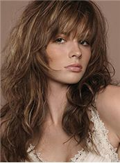 Human Hair Brown Wavy Medium Wigs 18 Inch Capless