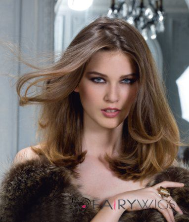 100% Human Hair Brown Full Lace Wavy Medium Wigs