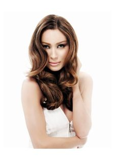100% Human Hair Brown Long Full Lace Wavy Wigs 20 Inch