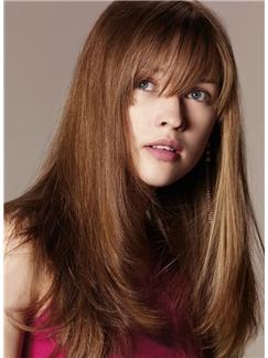 Human Hair Brown Medium Wigs 18 Inch Capless Straight
