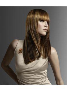 100% Human Hair Brown Medium Wigs 16 Inch Capless Straight