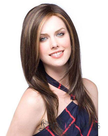 100% Human Hair Brown Medium Wigs 18 Inch Full Lace Wavy