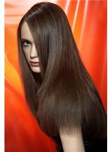 100% Human Hair Brown Medium Wigs 18 Inch Full Lace Straight