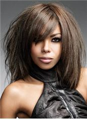 Human Hair Brown Medium Wigs 14 Inch African American Wigs